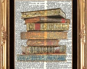 ANTIQUE BOOKS Pile - Vintage Dictionary Print Books Image printed Old Page Wall Room HOme Decoration Art
