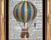 AIR BALLOON - Vintage Dictionary Print Beautiful Antique Air Ballon Wall Room Home Decoration Art Interior Design to Frame - LoveThePicture