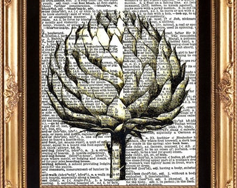 ANTIQUE FLOWER - Art Print on Vintage Dictionary Page Beautiful Detailed Black and White Botanical Print Home Decoration Wall Hanging