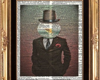 LOVE THE FISH - Man and His Goldfish Bowl Vintage Dictionary Print Frameable Digital Image on Old Page Wall Home Decoration Interior Design