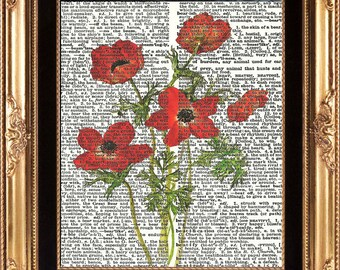 Red Poppy Vintage Dictionary Page Art Print Beautiful Flowers Book Page Room Wall Home Decor Decoration Wall Hanging Summer Garden Nature