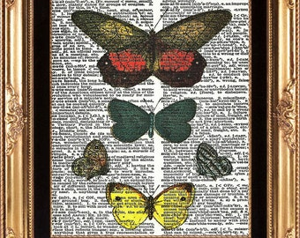 Antique Butterly Vintage Dictionary Print on Aged Page Room Wall Home Decoration Interior Design Handmade Colorful Garden Nature Art