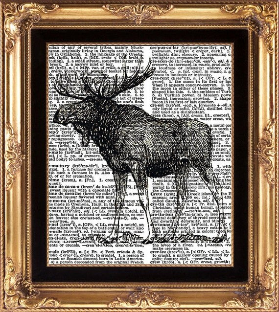 Moose Black and White Print on Vintage Dictionary book Page Home Decoration Wall Art Green Winter Forest Nature Natural Science Antique