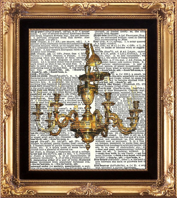 Antique Chandelier Print Vintage Dictionary Digital Image on Old Page Home Wall Art Interior Design Shabby Chic Beautiful Brass Candleholder