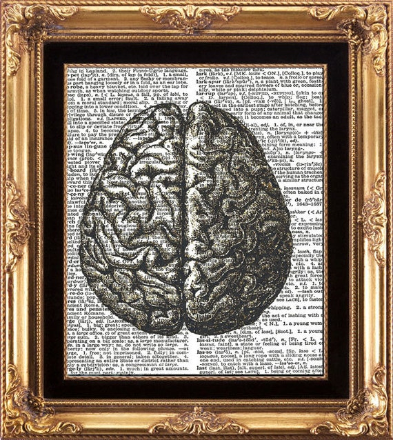 BRAIN - Vintage Dictionary Print Antique Human Anatomy Medical Digital Image on Old Page Beautiful Details Picture to Frame Wall Hanging