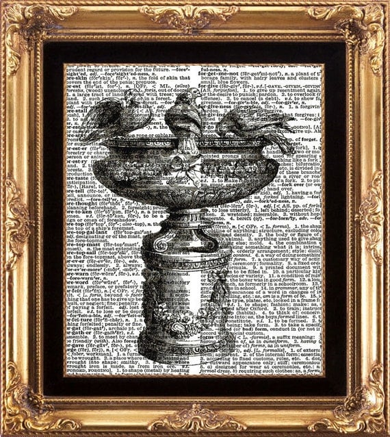 FRENCH BIRD BATH - Vintage Dictionary Print Frameable Digital Image on Old Page Wall Home Interior Design French Country Fountain Birds