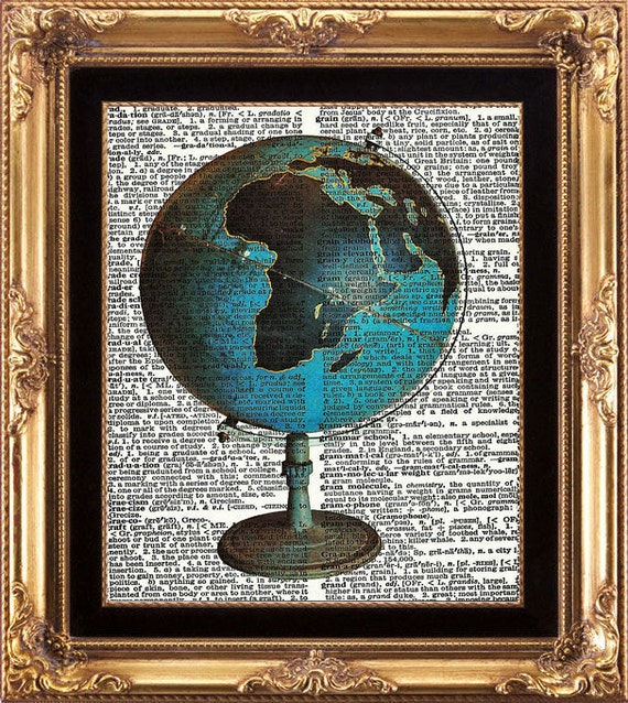 GLOBE - Vintage Dictionary Print Beautiful Blue World Globe Image printed Old Page Wall Room HOme Decoration Art