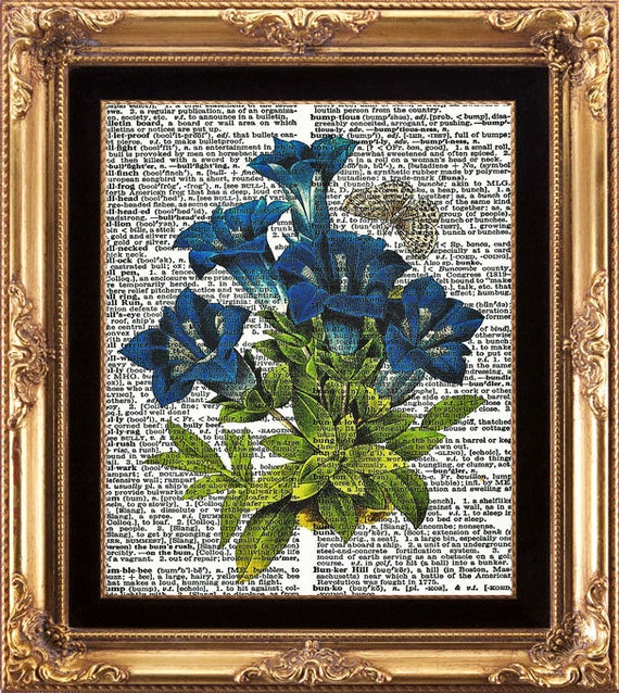 Blue Flower and Butterfly Vintage Dictionary Print to Frame Blue Bells Wildflower Picture Green Nature Garden Illustration Home  Art Decor