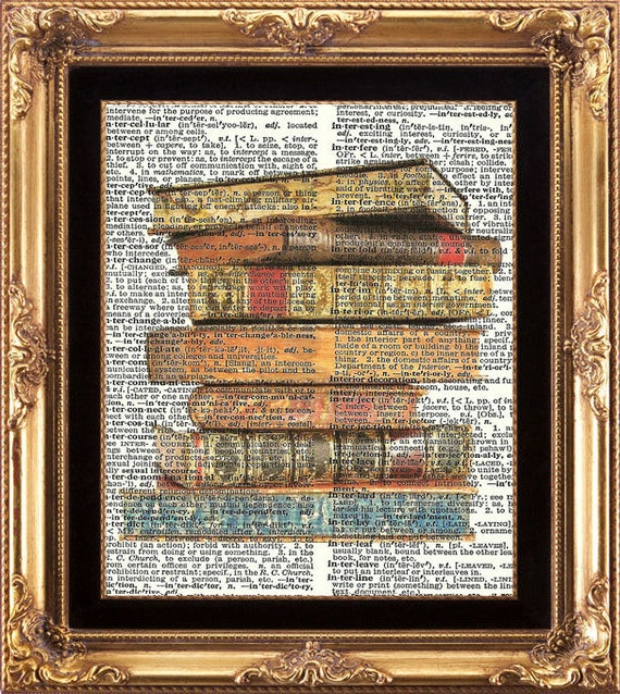 Antique books pile vintage dictionary print books image for Antique books for decoration