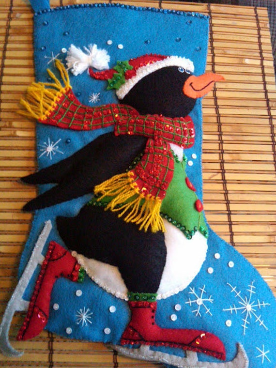 "Completed Dimensions ""SKATING PENGUIN"" Felt Stocking"