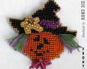 Jack-O-Lantern Witch Halloween Beaded Pin