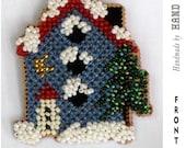 Winter Birdhouse Cross Stitch Beaded Pin