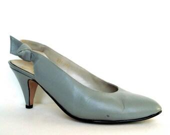 Vintage 80s Gray Leather Slingbacks 7
