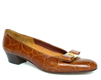 Vintage RANGONI Gold Bow Brown Leather Shoes 8 Vtg Crocodile Flats Shoes 8