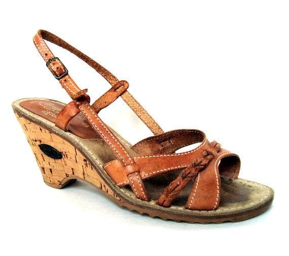 Vintage 70s CANDIES Brown Leather Wedge Sandal  7