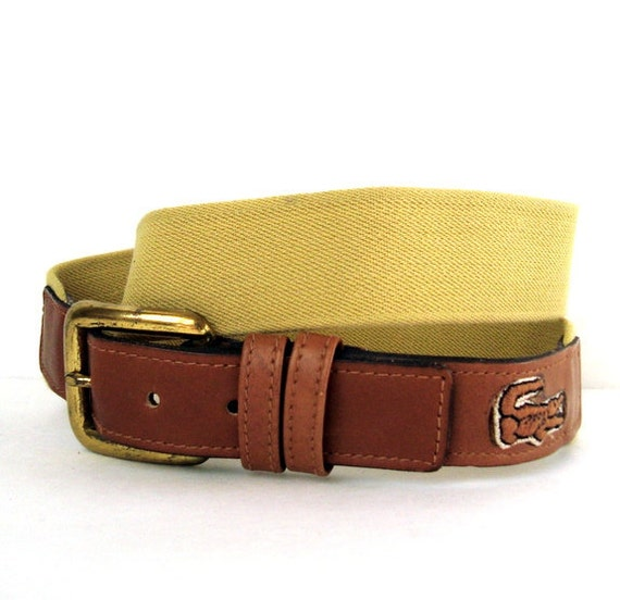 Vintage LACOSTE Brown Leather Stretch Belt XS/S