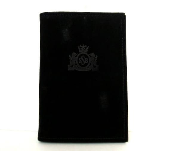 Vintage 80s LITTLE BLACK BOOK Suede Crest Address Book