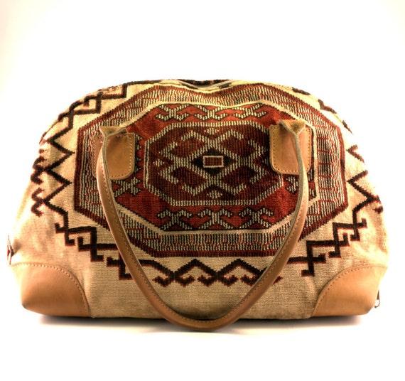 Vintage Southwestern Tapestry Brown Leather Handbag