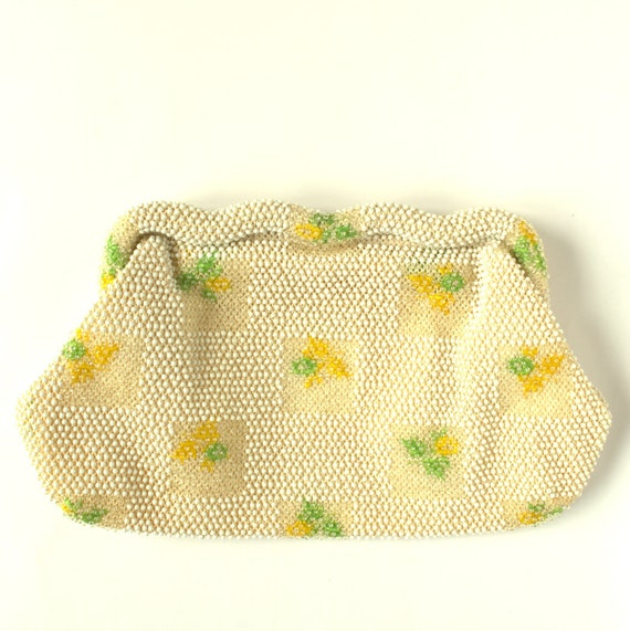Vintage Yellow Floral Beaded Embroidered Clutch