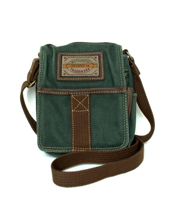 Vintage 80s LIZ CLAIBORNE Green Canvas Cross body bag