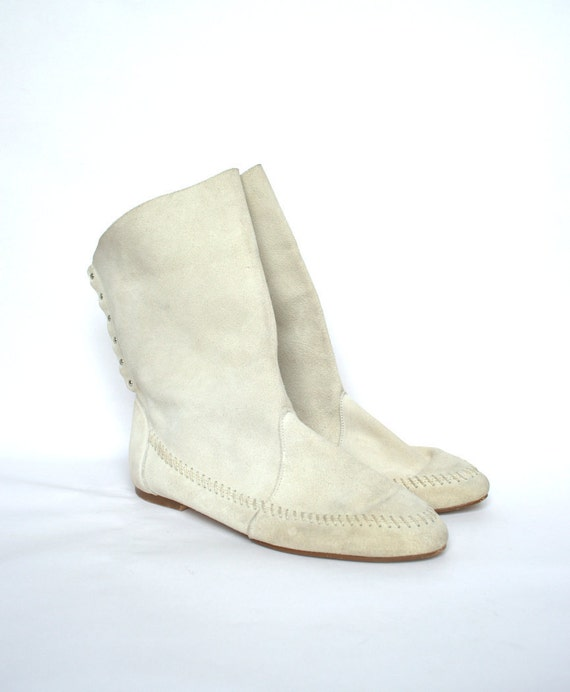 Vintage Southwestern White Suede Leather Moccasin Boots 8.5