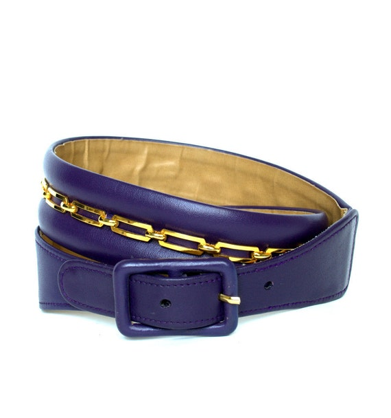 Vintage 80s CALDERON Purple Leather Chain Belt M