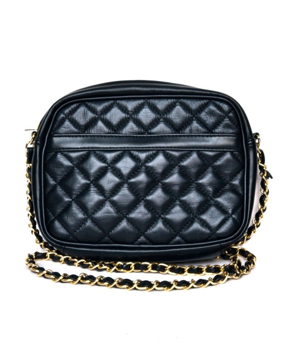Vintage 80s Quilted Black Leather Chain Handbag