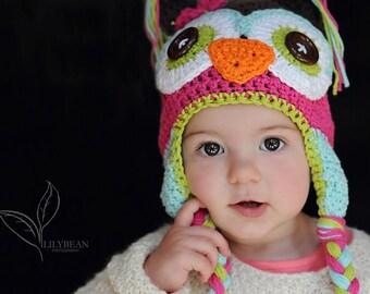 crochet owl hat, crochet kids hat,  hat with earflaps