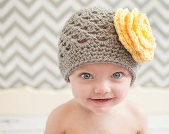 baby hat,  crochet baby hat, gray and yellow crochet hat, crochet hat with flower, baby girl hat, crochet girls hat