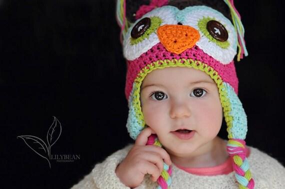 owl hat, kids owl hat, crochet owl hat, girls owl hat
