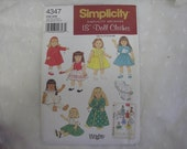 """18"""" Doll Clothes Pattern Simplicity 4347 Vintage Reproduction"""