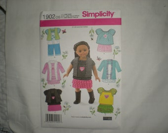 Simplicity 1902 - 18 Inch Doll Clothes sewing pattern