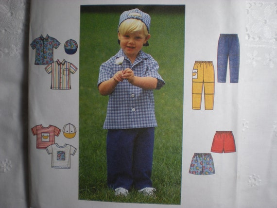 Simplicity Sewing Pattern 7994 Childrens Boys Size 2.3.4 Shirt, Pants, Top, Shorts and Cap