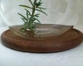 Large Glass Carafe / Beaker Style / Vase with Wood Base & Stopper
