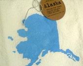 Alaska Tea Towel in Ice Blue / Cotton Flour Sack / Ready to Ship