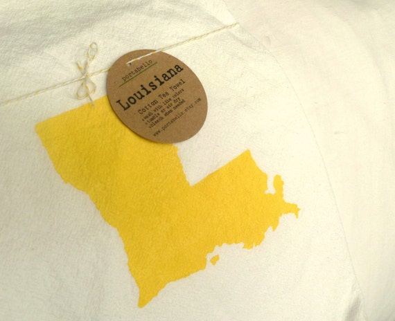 Louisiana Tea Towel in Sunny Yellow / Cotton Flour Sack / Ready to Ship
