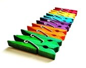 SUPPLY: Set of 12 Mini Hand Painted Wood Clothespins - Vibrant Rainbow Colored Wood Clothespins