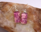 Glass Tile Earrings - Pink Art Nouveau Butterflies
