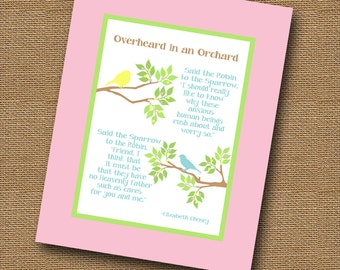 """Instant Download - Baby Girl Nursery Wall Art Christian DIY PRINTABLE """"Overheard in an Orchard"""" (""""Said the Robin to the Sparrow"""") 8x10"""