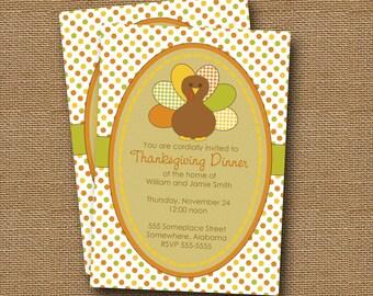Turkey Invitation | DIY PRINTABLE | Thanksgiving Invitation | Printable Thanksgiving Dinner Invite | Gingham Turkey | Burlap Invitation
