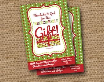 "DIY PRINTABLE Christmas Card | ""Indescribable Gift"" | Christian, Scripture, Christmas Bible Verse Card | Religious, Inspirational Christmas"