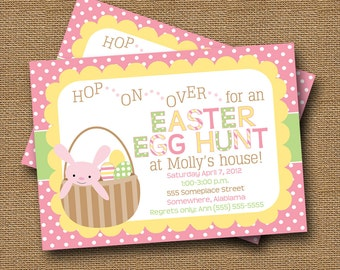 "Girls Easter Egg Hunt Invitation | Easter Party Invitation | DIY PRINTABLE | ""Happy Dots and Stripes"" 