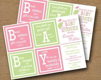 Baby Girl Shower Invitation DIY PRINTABLE Baby Blocks Christian Scripture Bible Verse (Choose Your Colors)