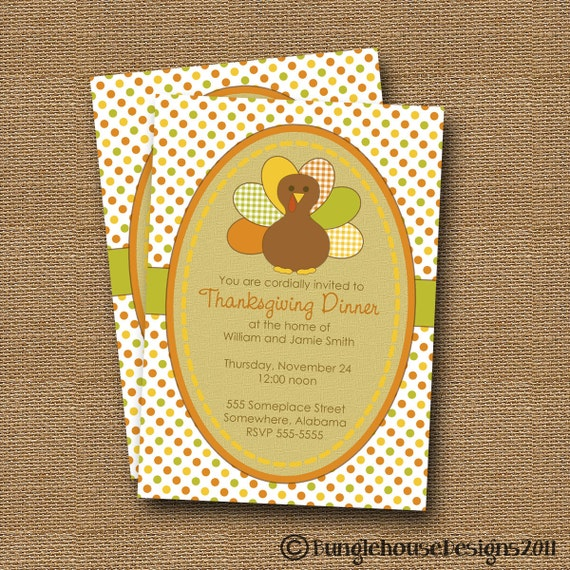 Turkey Invitation | DIY PRINTABLE | Thanksgiving Invitation | Printable Thanksgiving Dinner Invite | Gingham Turkey | Burlap Invitation