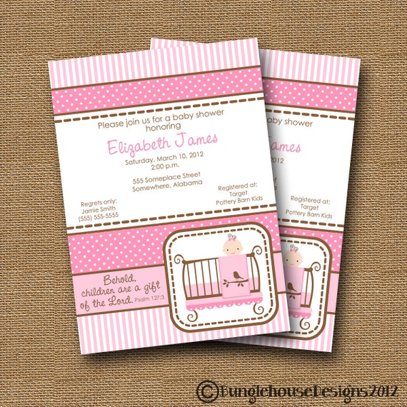 Baby Girl Shower Invitation DIY PRINTABLE Baby Crib Baby Bed Christian Scripture Bible Verse (Design 1 of 3)