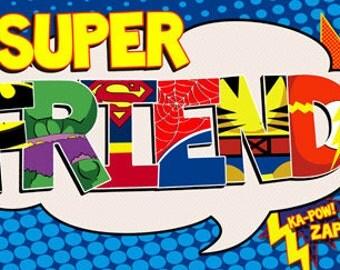 Super Friend Water Bottle Wrap- digital file