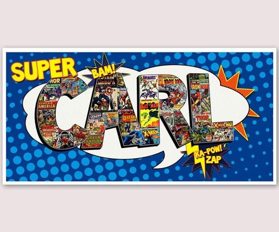 personalized superhero name wall art 16x20 digital file. Black Bedroom Furniture Sets. Home Design Ideas