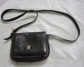 Paloma Picasso Small Black Leather Shoulder Bag with Long Strap
