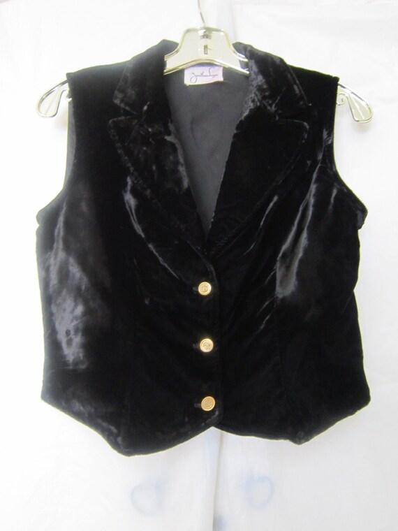 Jonathan Logan Black Velvet Vest 1970's