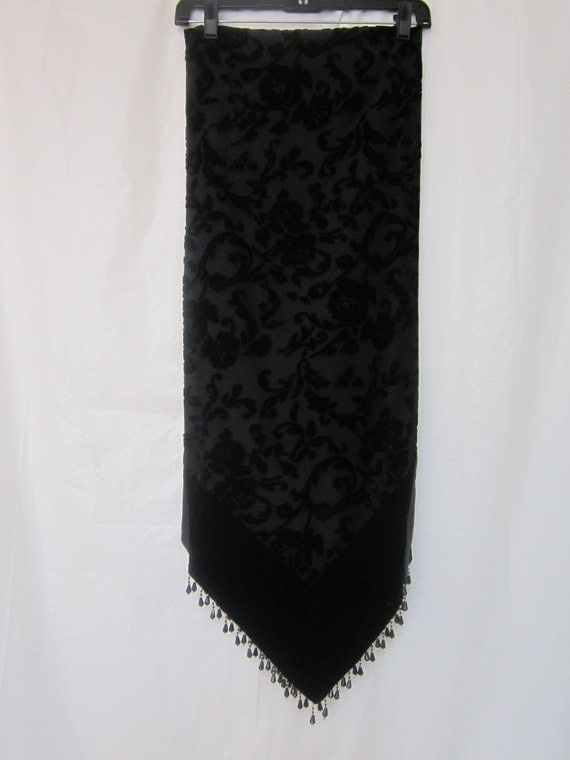 Black Floral Velvet Vintage Wrap with Hanging Beads
